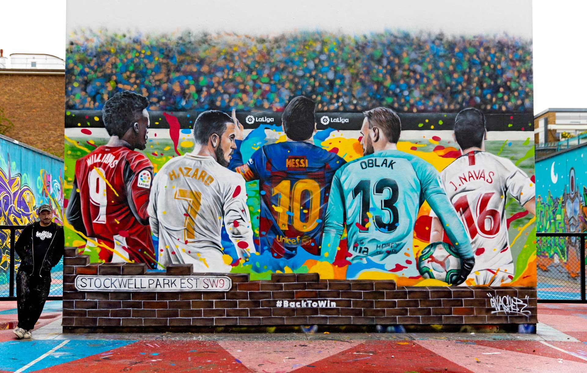 133-Laliga-football wall mural-large street art