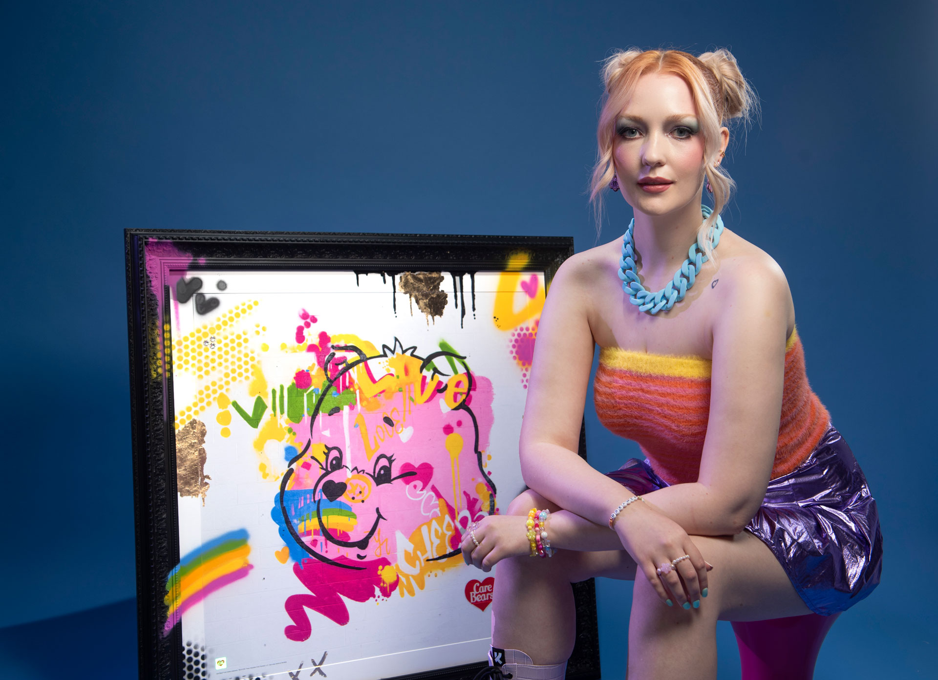 Victoria-Clay-Models-with-Luxury-Care-Bears-Grafitti-Print