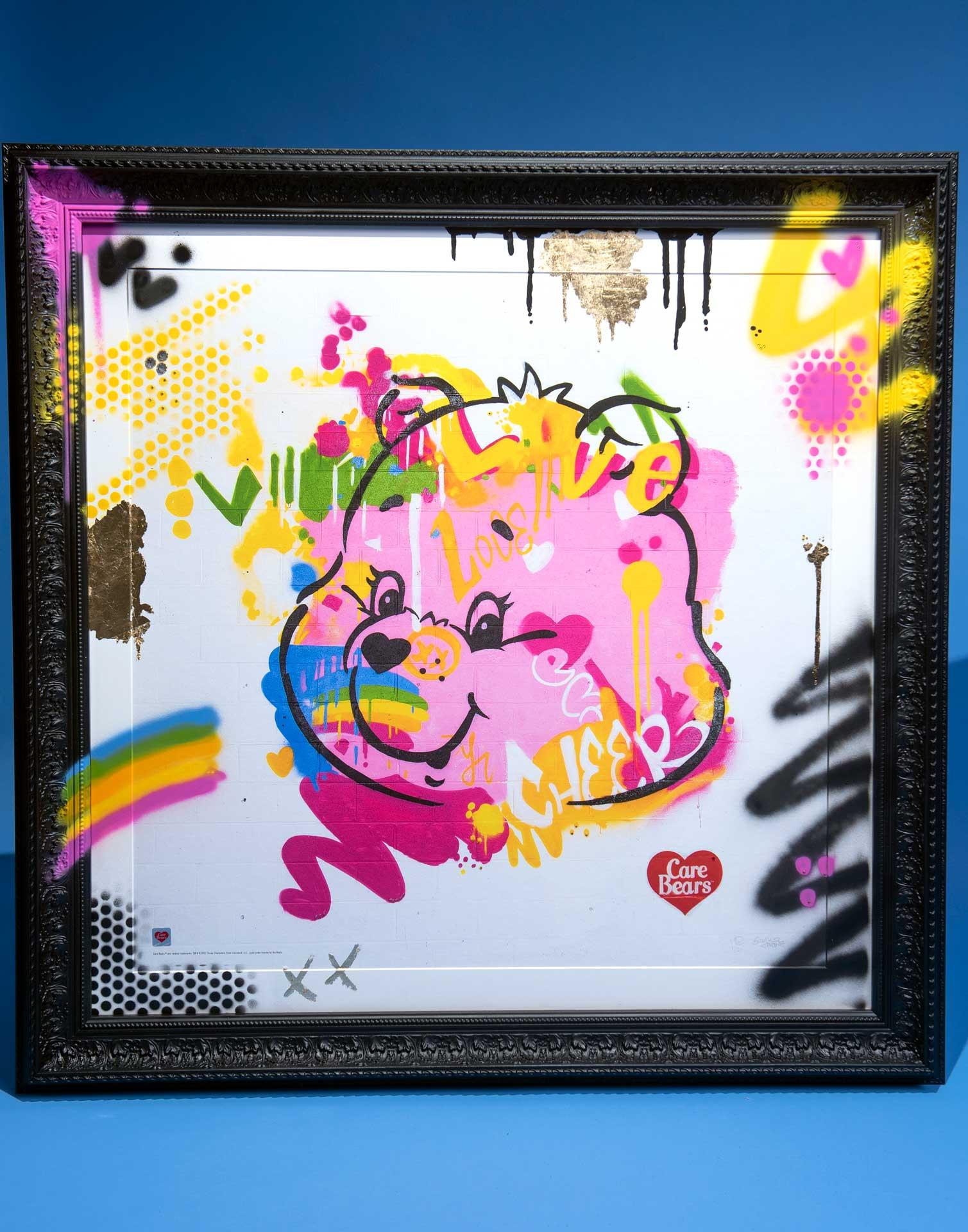 care-bears-cheer-bear-luxury-framed-grafitti-print